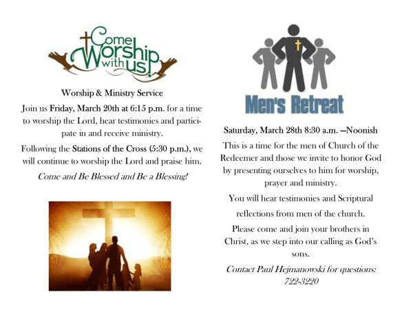 worship and mens ministry flyer